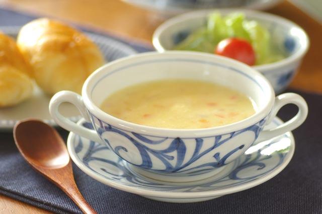 和食器・砥部焼 からくさのスープカップ&ソーサー