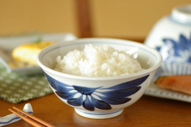 【砥部焼 梅山窯】ごす菊の反茶碗(4.5寸)