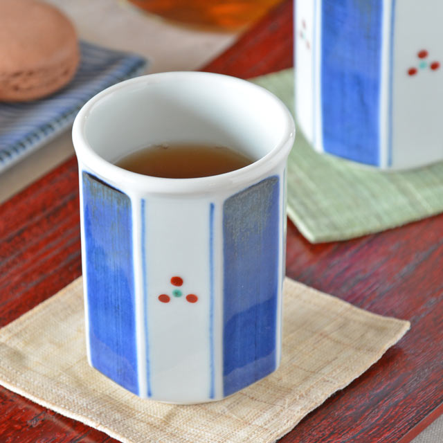 和食器・砥部焼 みつ紋の八角湯呑