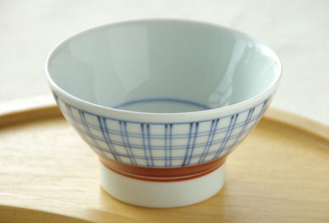 【砥部焼 梅山窯】格子もようの茶碗(小)