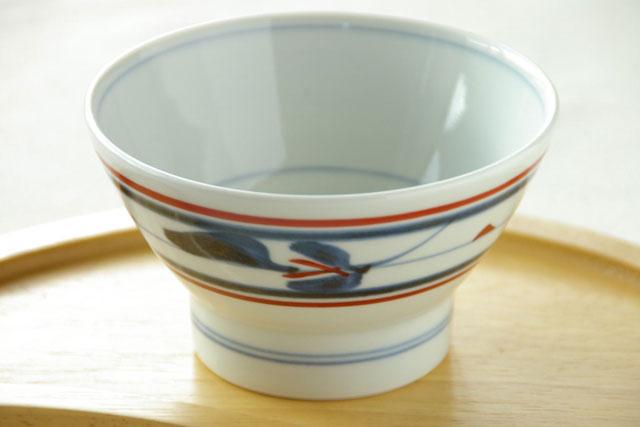 【砥部焼 梅山窯】みつ葉の茶碗(小)