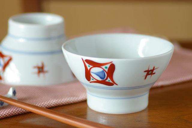 砥部焼・梅山窯 しかく柄の茶碗(小)