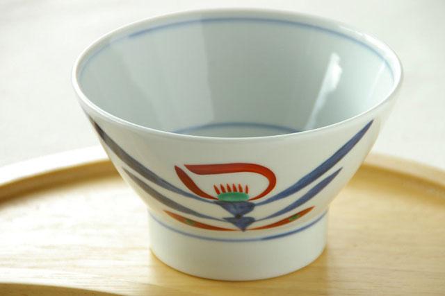 【砥部焼 梅山窯】あか花の茶碗(小)