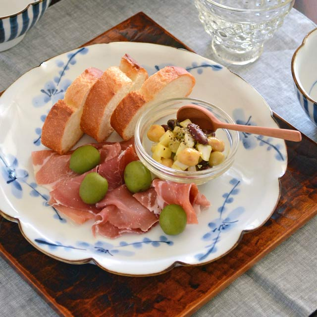 和食器・砥部焼 梅の花皿(7寸)