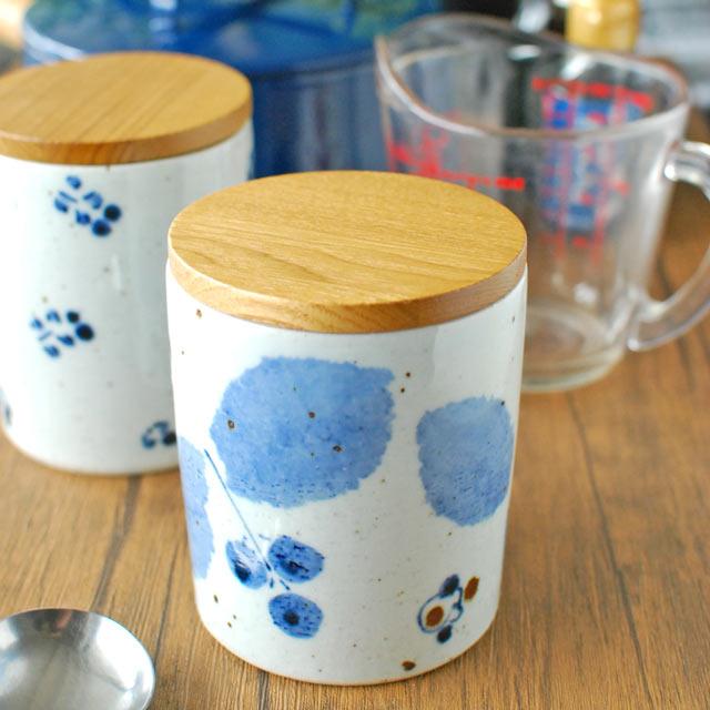 和食器・砥部焼 ブルー木の葉のキャニスター