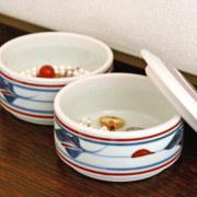 和食器・砥部焼 みつ葉の二段ふた物(小)