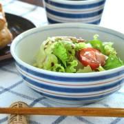 和食器・砥部焼 あい赤ラインの多用鉢(4.7寸)