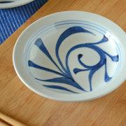 和食器・砥部焼 ひとつからくさの縁付深皿(5寸)