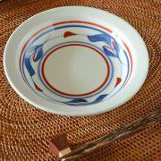 和食器・砥部焼 みつ葉の縁付深皿(5寸)
