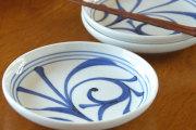 【砥部焼 梅山窯】ひとつからくさの切立丸皿(6寸)