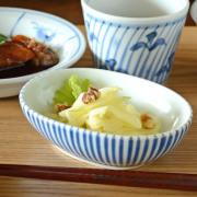 和食器・砥部焼 とくさ柄の舟型小鉢