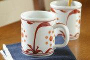 【砥部焼 梅山窯】赤太陽の切立マグカップ