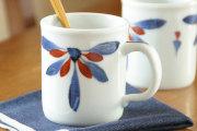 【砥部焼 梅山窯】ごす赤菊の切立マグカップ