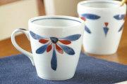 【砥部焼 梅山窯】ごす赤菊のモーニングカップ