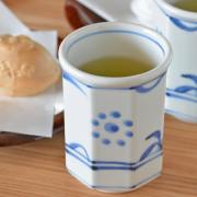 和食器・砥部焼 太陽柄の八角湯呑(中)
