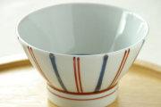 【砥部焼 梅山窯】ごす赤線の茶碗(大)