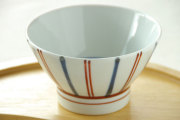【砥部焼 梅山窯】ごす赤線の茶碗(小)