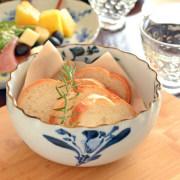 和食器・砥部焼 ごす花の波口ボール(5寸)