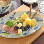 【砥部焼 東吉窯】梅の楕円プレート皿