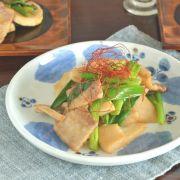 和食器・砥部焼 ブルー木の葉の茶碗