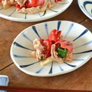 和食器・砥部焼 青線の楕円たたき皿