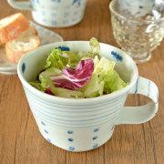 【砥部焼 スギウラ工房】スープマグ(ボーダー+青水玉)