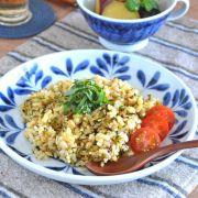 和食器・砥部焼 ブルーリーフの丸皿(7寸)