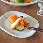 和食器・砥部焼 しましま柄の楕円皿(5.2寸)