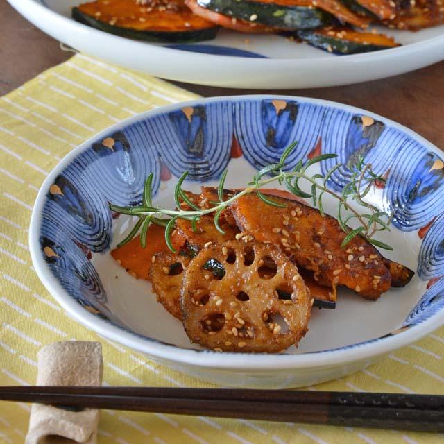 和食器・砥部焼 半円金彩の丸皿