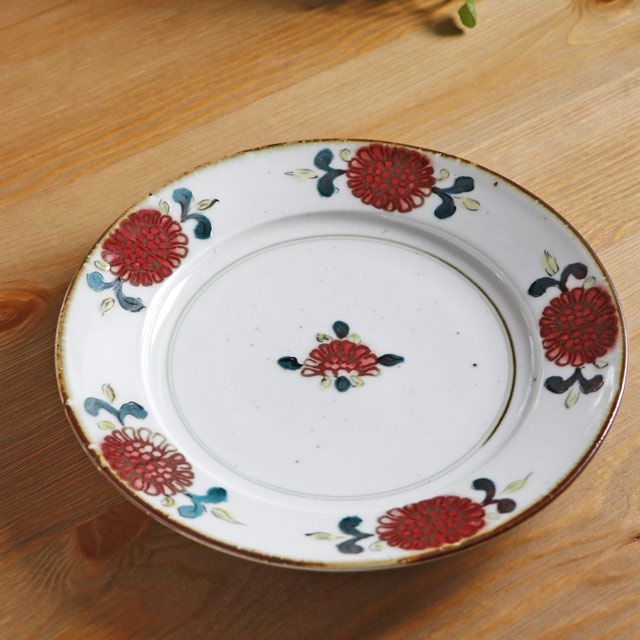和食器・砥部焼 中田窯のリム付皿(8寸)