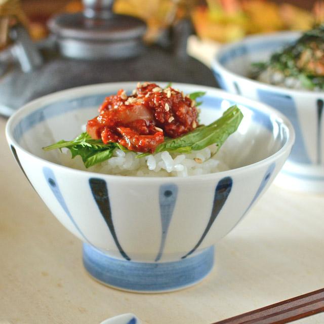 和食器・砥部焼 青線の茶碗(大)