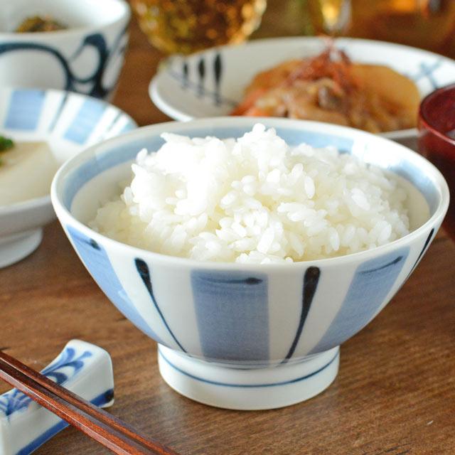 和食器・砥部焼 はけめ文の茶碗(大)