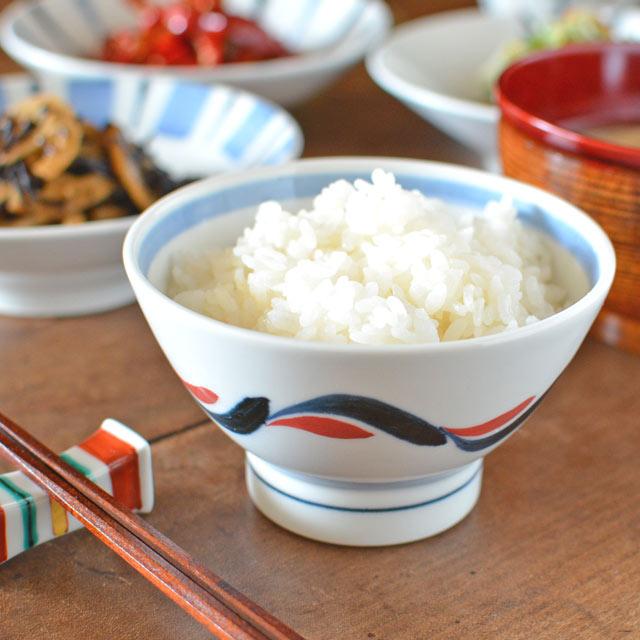 和食器・砥部焼 青赤波の茶碗(小)