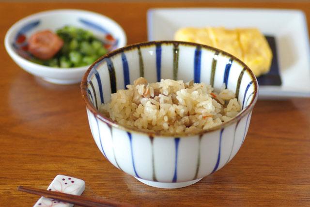 砥部焼・千山窯 とくさ柄の汁碗