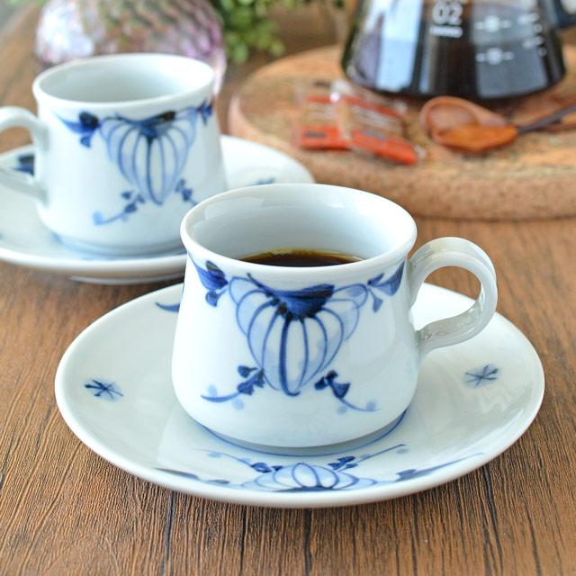 【砥部焼 青達窯】菊絵のコーヒー碗・皿