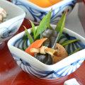 和食器・砥部焼 流れ菊の四方鉢(3寸)