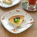 和食器・砥部焼 赤太陽の角丸布目皿(5寸)