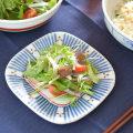 和食器・砥部焼 とくさみつ紋の角丸布目皿(5寸)