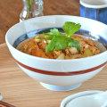 和食器・砥部焼 赤線の丸丼鉢(6寸)