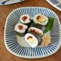 和食器・砥部焼 とくさ柄の角丸布目皿(6寸)