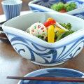 和食器・砥部焼 からくさの四方鉢(7寸)