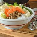 和食器・砥部焼 赤線底からくさの玉ぶち鉢(9寸)