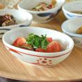 和食器・砥部焼 赤太陽の舟型小鉢