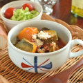和食器・砥部焼 赤蝶文のふっくらスープカップ