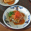 和食器・砥部焼 浮草の布目丸皿