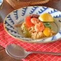 和食器・砥部焼 波模様のリム付皿(6寸)