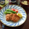 和食器・砥部焼 波模様のリム付皿(7寸)