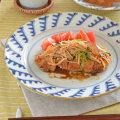 和食器・砥部焼 波模様のリム付皿(8寸)