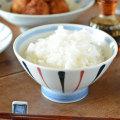 和食器・砥部焼 青赤線の茶碗(大)
