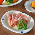 和食器・砥部焼 水玉もようの楕円皿(5.2寸)